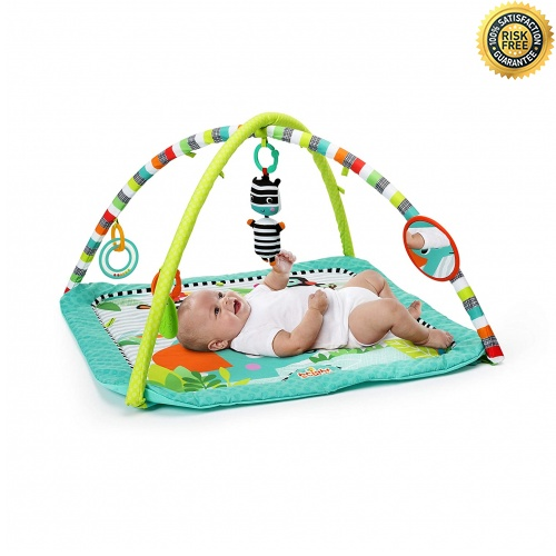 pink Winthome Baby-Spieldecke Rund antirutschbeschichtete Baumwoll-Spieldecke mit Spielzeugaufbewahrungsfunktion waschbare Krabbeldecke 150cm